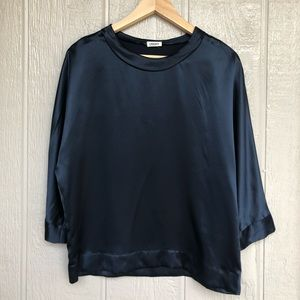 L'AGENCE | Navy 100% Silk Blouse Top